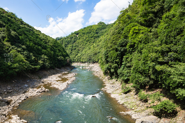 View of Hozugawa river from Sagano scenic railway, Kyoto
