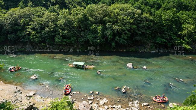 View of Hozu river boat cruise (Hozugawa Kudari), Kyoto