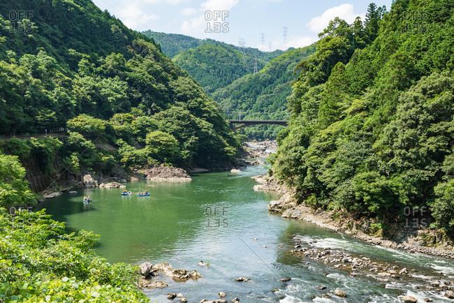 View of Hozugawa river from Sagano scenic railway, Kyoto