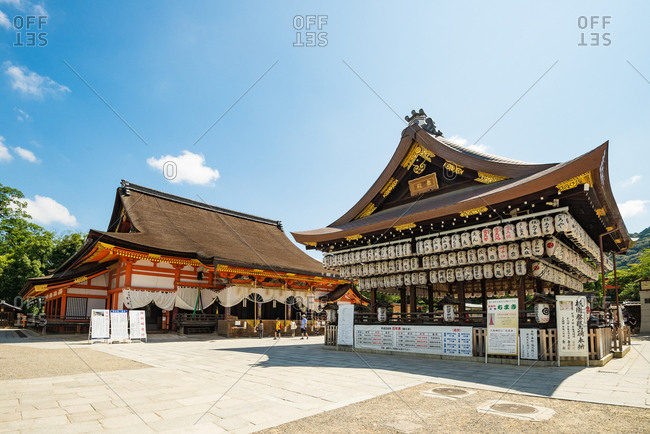 KYOTO, JAPAN - JULY 19, 2016: Yasaka jinja shrine in Kyoto. Yasaka shrine welcomes thousands of people every new year
