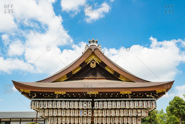 Kyoto, JAPAN - July 19, 2016: Rooftop of the Yasaka jinja shrine in Kyoto