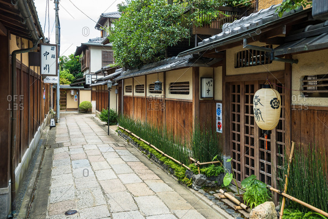Kyoto, JAPAN - July 19, 2016: Historical alley, Ishibe-koji in Kyoto