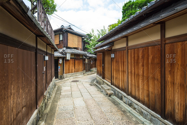 Kyoto, JAPAN - July 19, 2016: Kyoto, JAPAN - July 19, 2016: Historical alley, Ishibe-koji in Kyoto