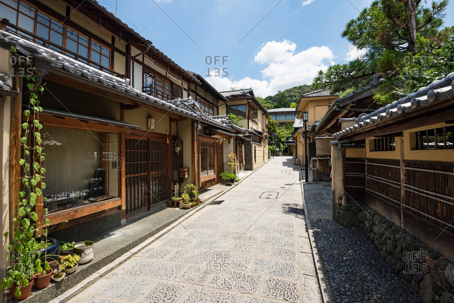 Kyoto, JAPAN - July 19, 2016: Japanese traditional shopping street in Kyoto