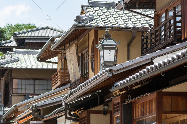KYOTO, JAPAN - JULY 19, 2016: Japanese traditional shopping street, Ninenzaka in Kyoto