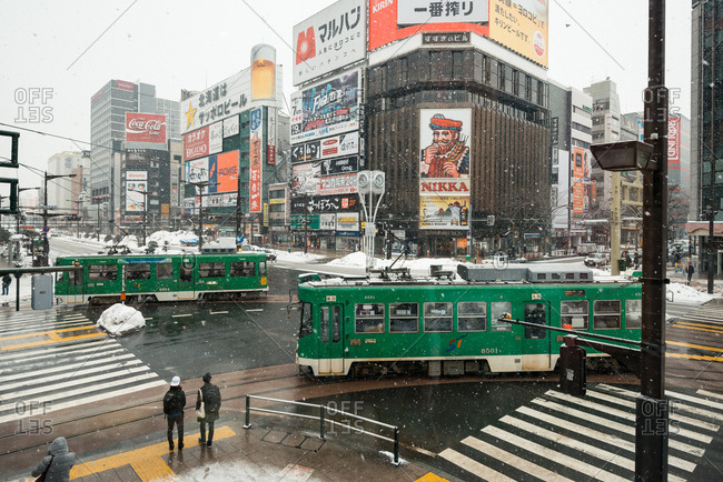 SAPPORO, JAPAN - JANUARY 9, 2017: Street view of tram station during winter in Sapporo