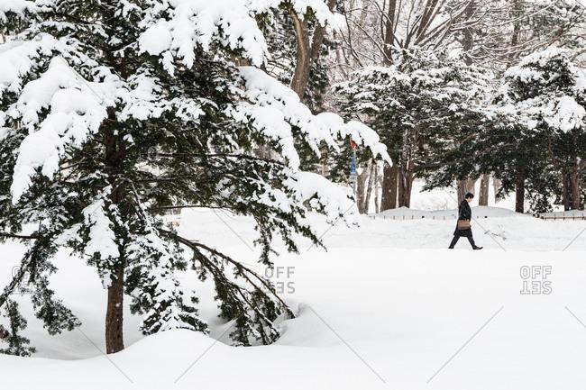 Business man walking in snowy street