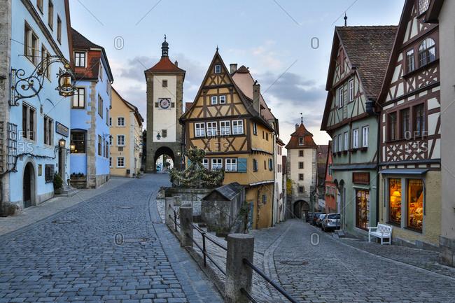 Germany - April 28, 2015: Germany, Rothenburg ob der Tauber, Ploenlein Triangular Place