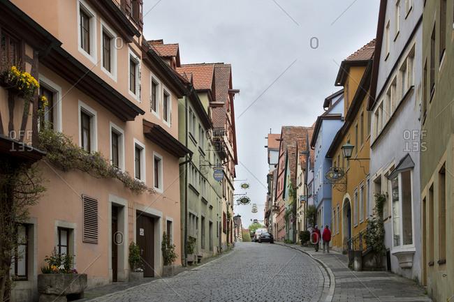 Germany - April 27, 2015: Germany, Rothenburg ob der Tauber, Street scene