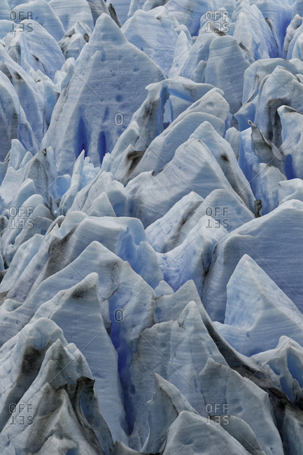 Pattern in blue ice of Grey Glacier, Torres del Paine National Park, Chile, Patagonia