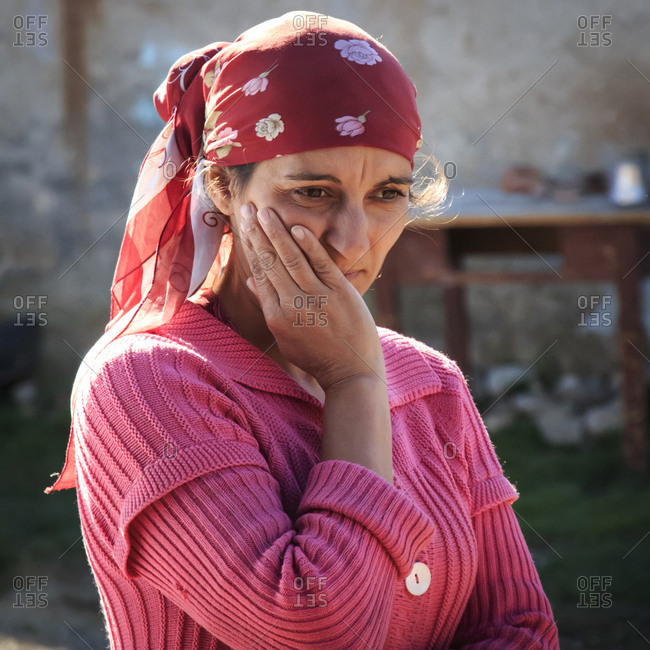 Romania - October 31, 2015: Romania, Transylvania, Carpathian Mountains, Viscri, local gypsy ROM woman