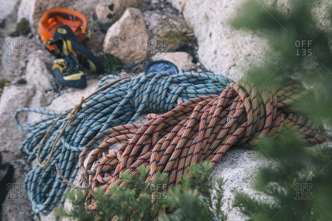 High angle view of mountain climbing ropes on rocks