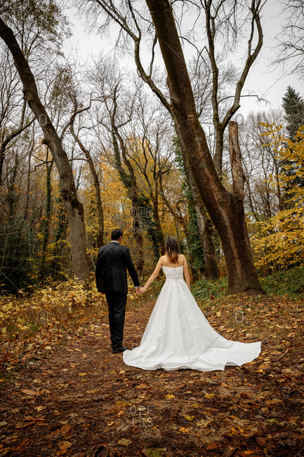 Bride and Groom Walking for the forest