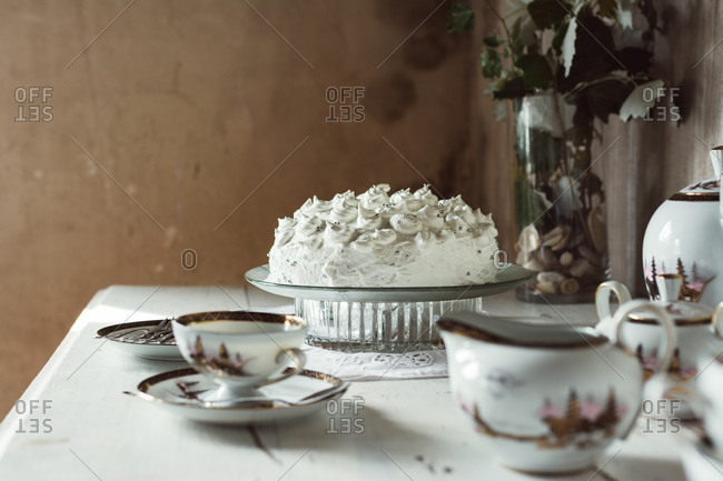 Meringue and tea setting on a table