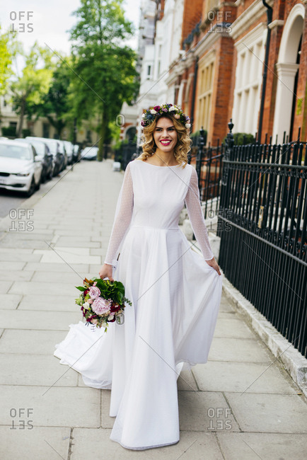 Gorgeous bride in street
