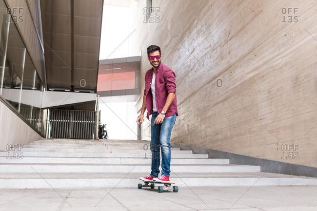 Stylish young skateboarder