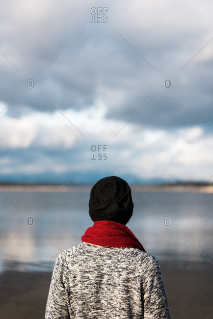 Back view of man in warm clothing looking at lake in gloomy day.