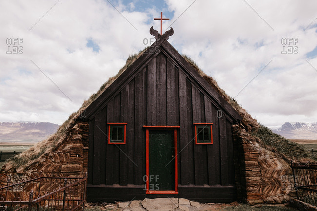 Small ancient church in Scandinavian style situated in Iceland.