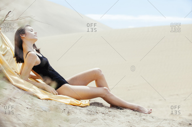 Sensual woman posing in swimming suit