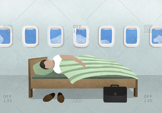 Illustration of a man sleeping in a bed on a plane