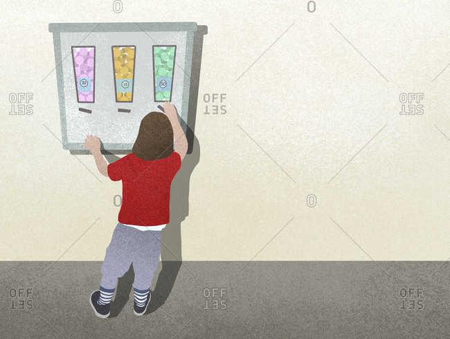 Illustration of a child using a gumball machine