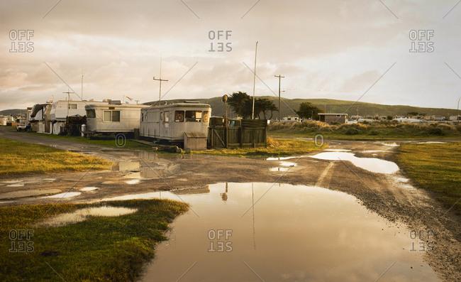A caravan park after the rain