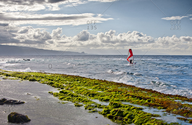 A windsurfer in the waves