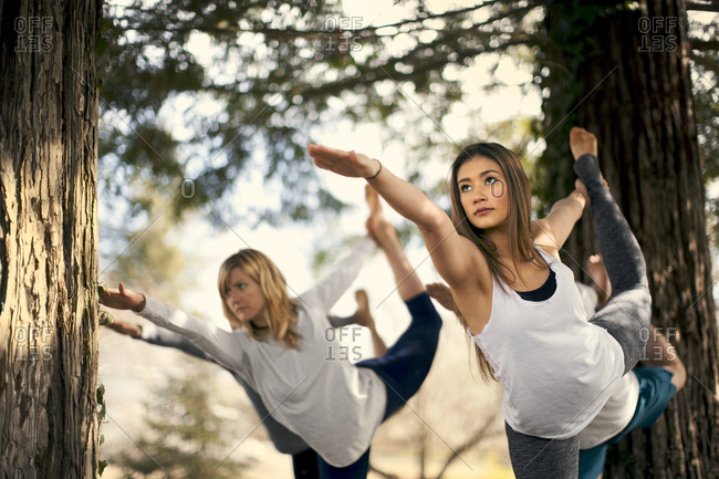 A group of people holding dancer pose during an outdoor yoga class