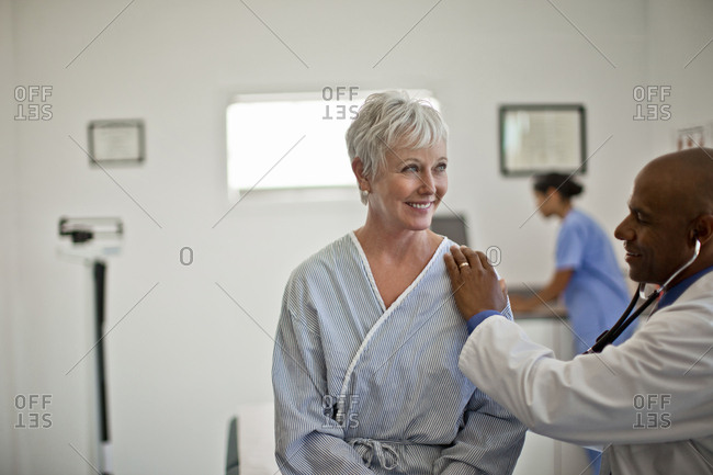 A middle aged woman during a medical examination