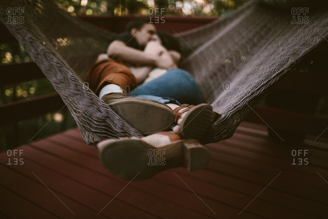 Couple laying in a hammock