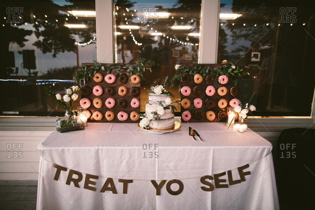 Wedding cake and donut display