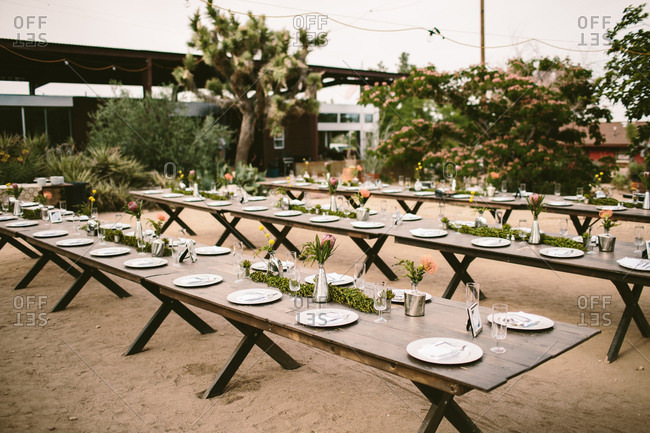 Wedding reception tables in the desert