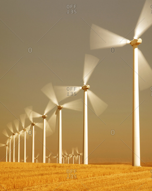 Wind farm in agricultural area of eastern Washington