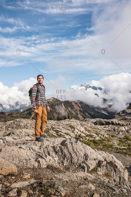 Hiker on Mount Baker, Washington, USA