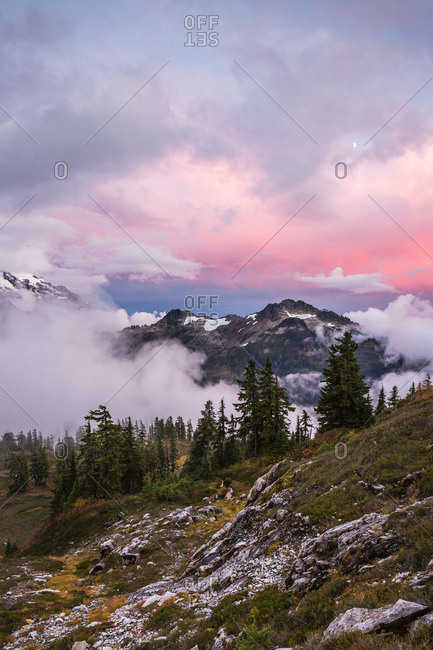 Clouds on snow covered mountains, Mount Baker, Washington, USA
