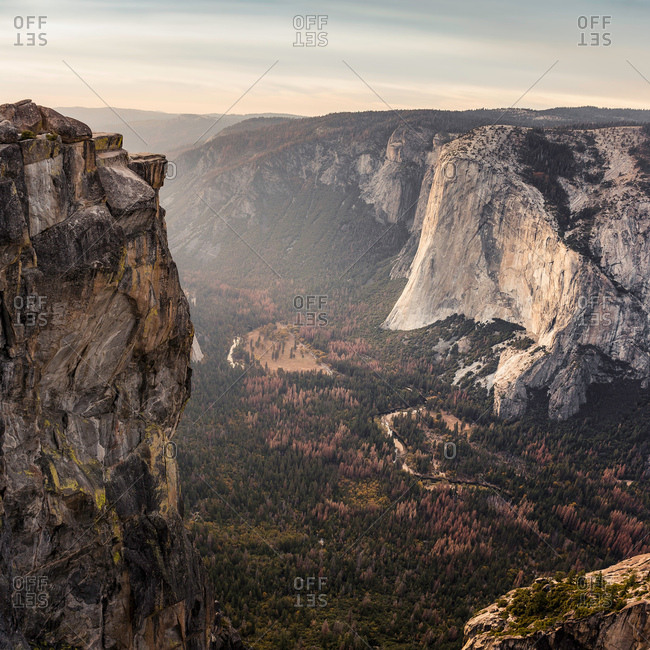 Elevated view of valley below rock formations, Yosemite National Park, California, USA