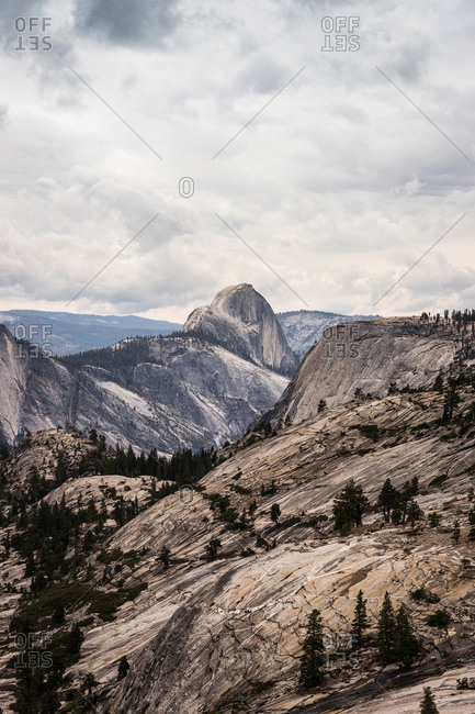Elevated view of mountainous rock formations, Yosemite National Park, California, USA