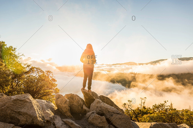 Rear view of woman looking out over valley mist at sunrise, Yosemite National Park, California, USA