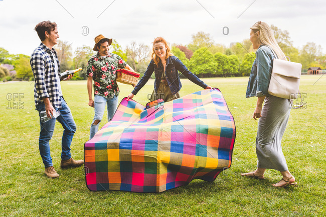 Group of friends preparing picnic area in park