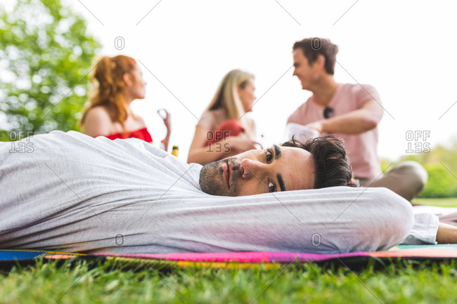 Group of friends relaxing at picnic in park