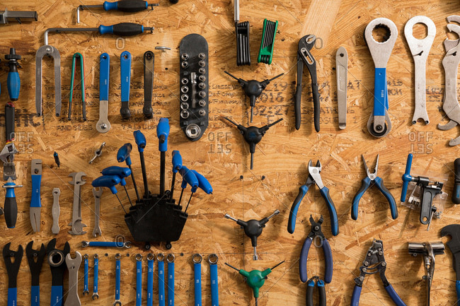 Assortment of bicycle tools