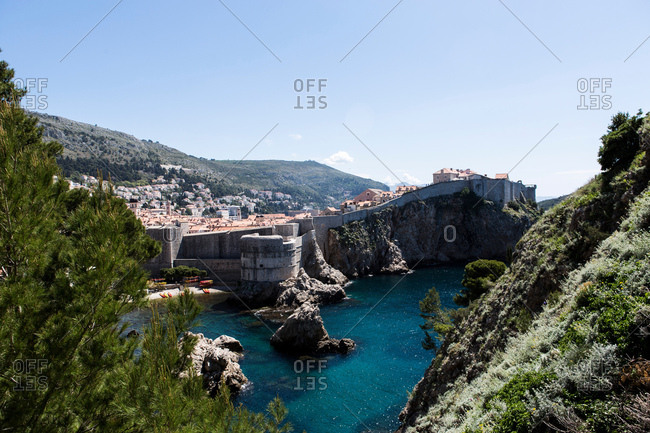 Distant view of old town and coastal city walls, Dubrovnik, Croatia