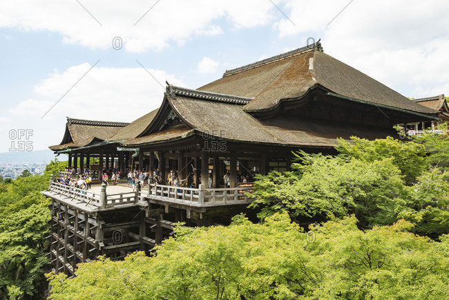 KYOTO, JAPAN - July 19, 2016: The Main hall (Hondo) of Kiyomizudera Buddhist temple in eastern Kyoto