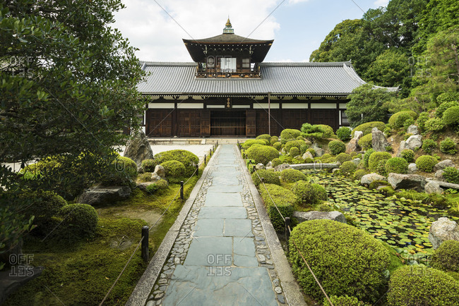 KYOTO, JAPAN - July 19, 2016: The Kaisando (founder's hall) of Tofukuji buddhist temple in Kyoto, Japan