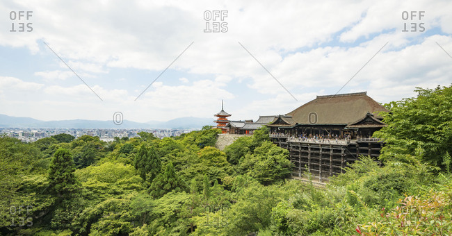 The Main hall (Hondo) of Kiyomizudera buddhist temple in eastern Kyoto