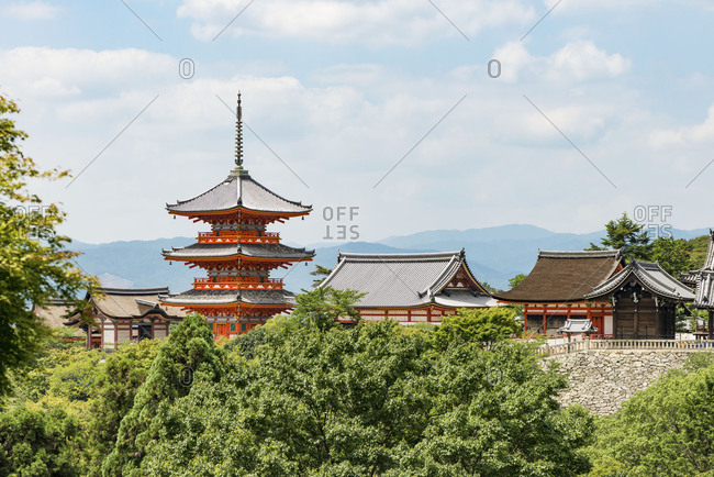 Sanjunoto (three-storied pagoda) of Kiyomizudera buddhist temple in eastern Kyoto