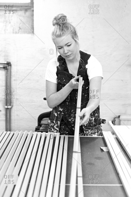 A craftperson at work in her studio