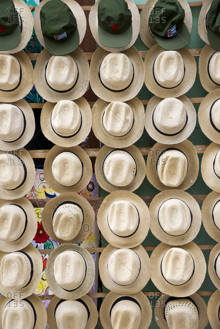Havana, Cuba - May 22, 2017: Straw hats for sale