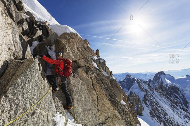Chamonix, France - March 30, 2017: Climbing Les Droites, 4000m, Rhone Alpes, Haute Savoie, French Alps