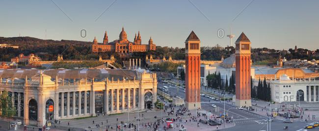 Barcelona, Spain - April 8, 2017: View over Placa d'Espanya (Placa de Espana) to Palau Nacional (Museu Nacional d'Art de Catalunya), Catalonia